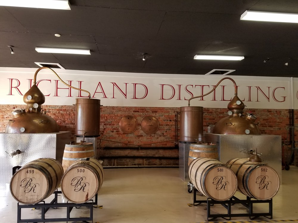 Richland's two copper stills. They prefer to go the old fashioned, less efficient route because the final product is so much better.