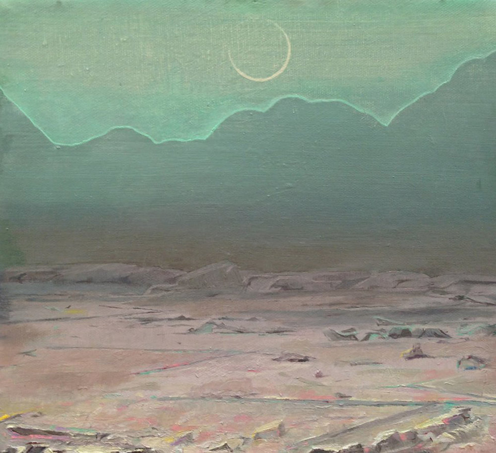 "New Moon, oil on canvas, 9"" x 10"", 2014"