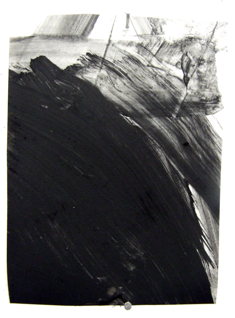 3:00 am, charcoal and gesso on mylar, 2012