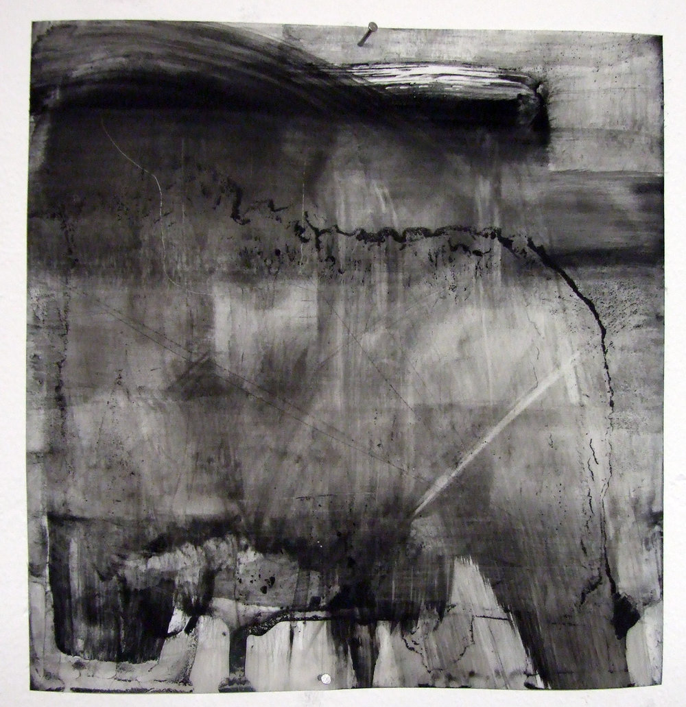 Purgatory, charcoal and gesso on mylar, 2012