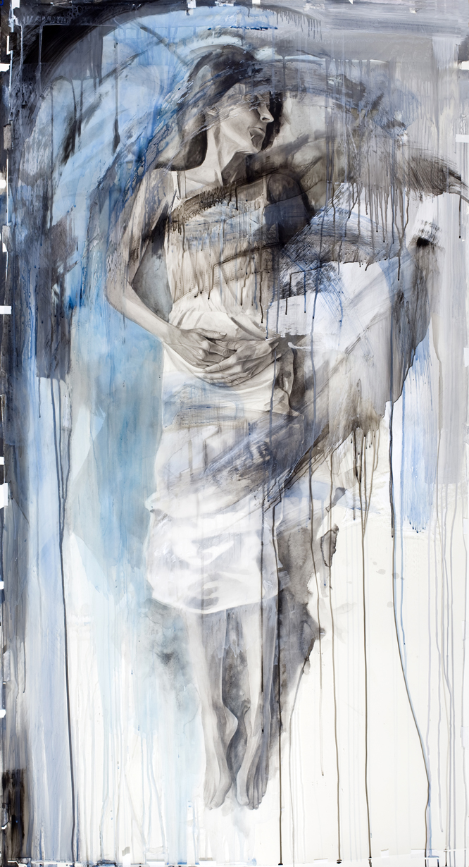 "Mother Blue, watercolor and acrylic on paper and acetate, 77"" x 42"", 2012"