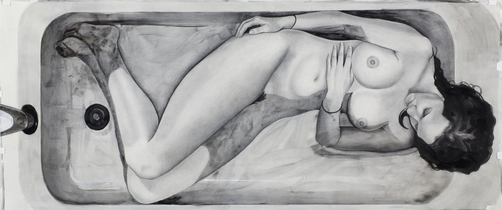 "Bathtub, watercolor on paper and acetate, 26"" x 61"", 2012"