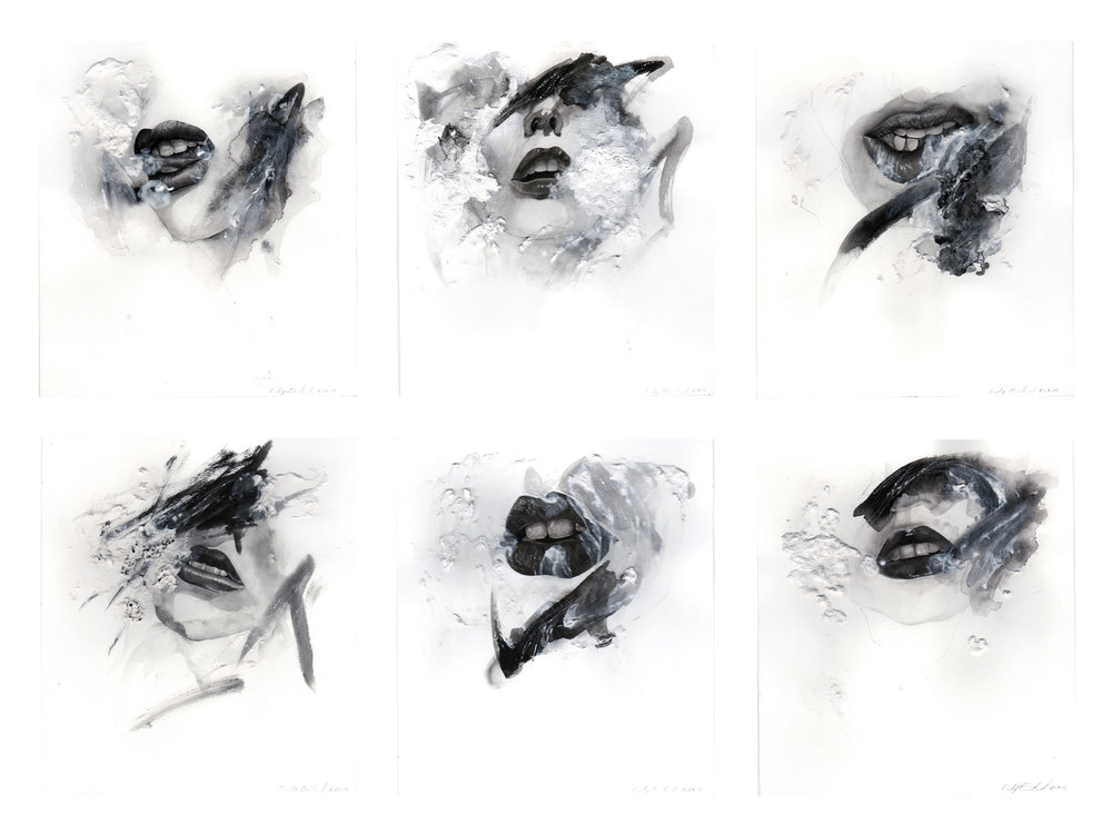 "6 Faces, mixed media on paper, 9"" x 8"" each, 2011"