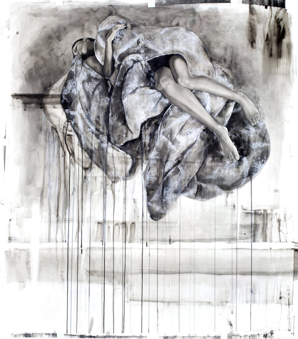 "Bed, watercolor and mixed media on paper, 44"" x 53"", 2011"