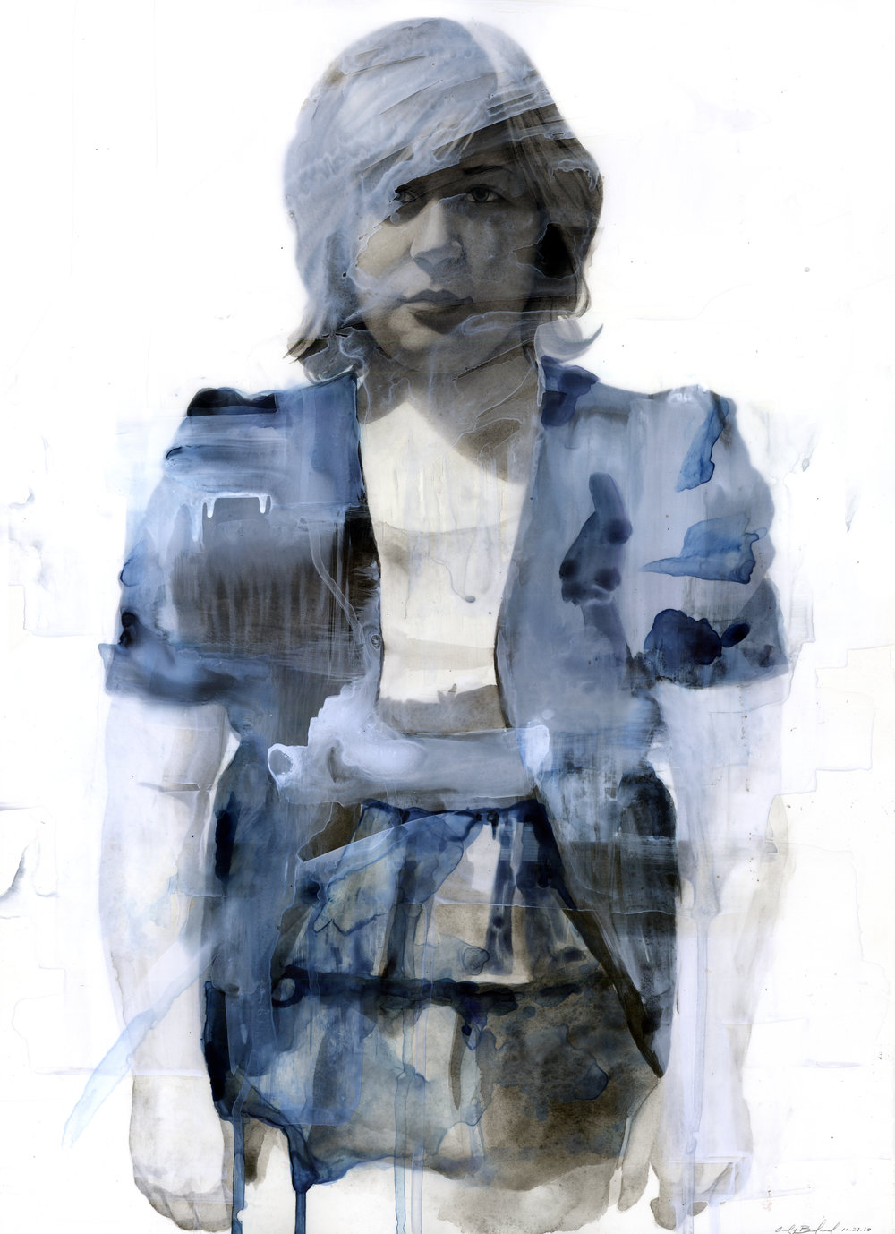 "Sarah, watercolor on paper and acetate, 24"" x 18"", 2011"