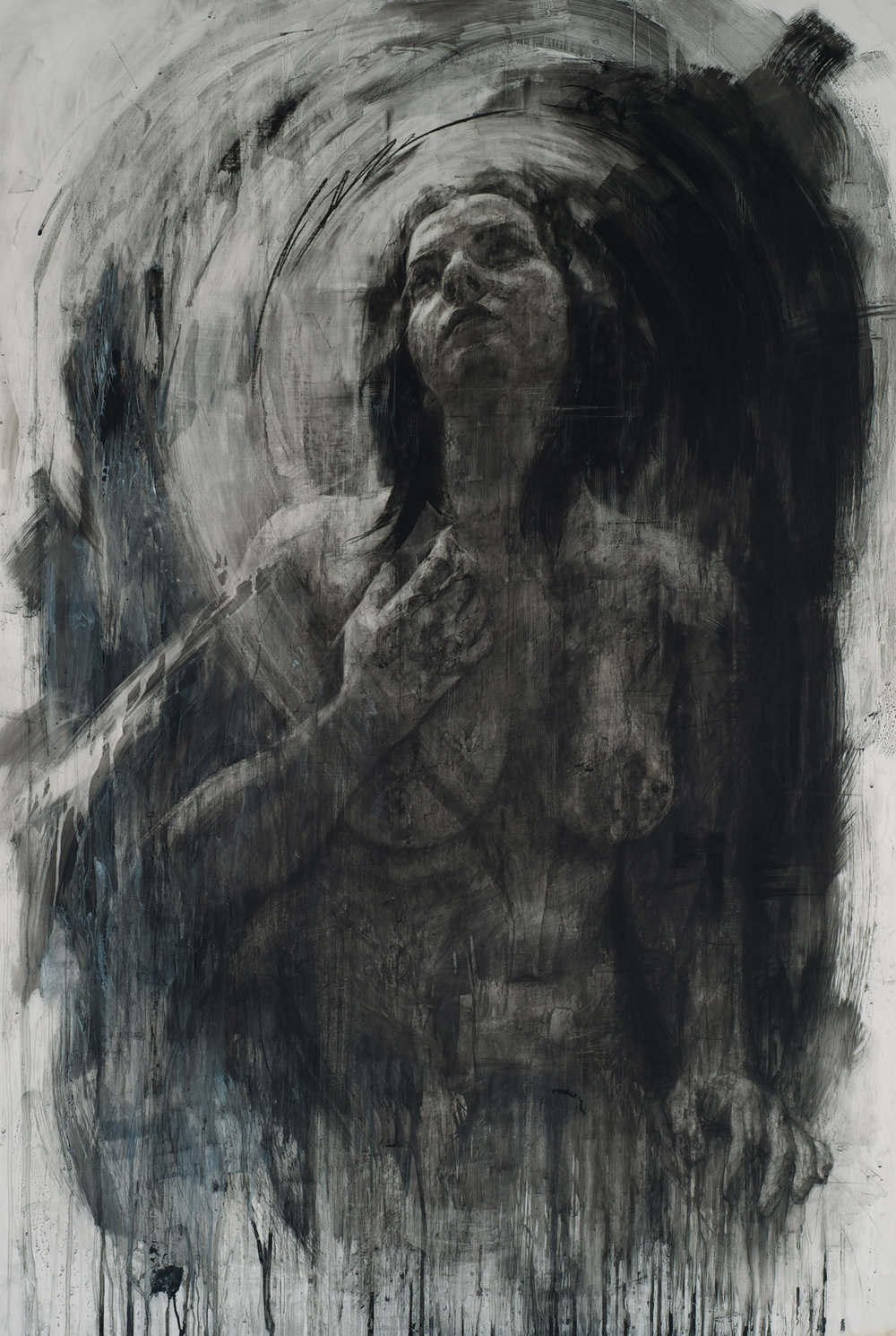 "Erika, charcoal on mylar, 63"" x 42"", 2013"
