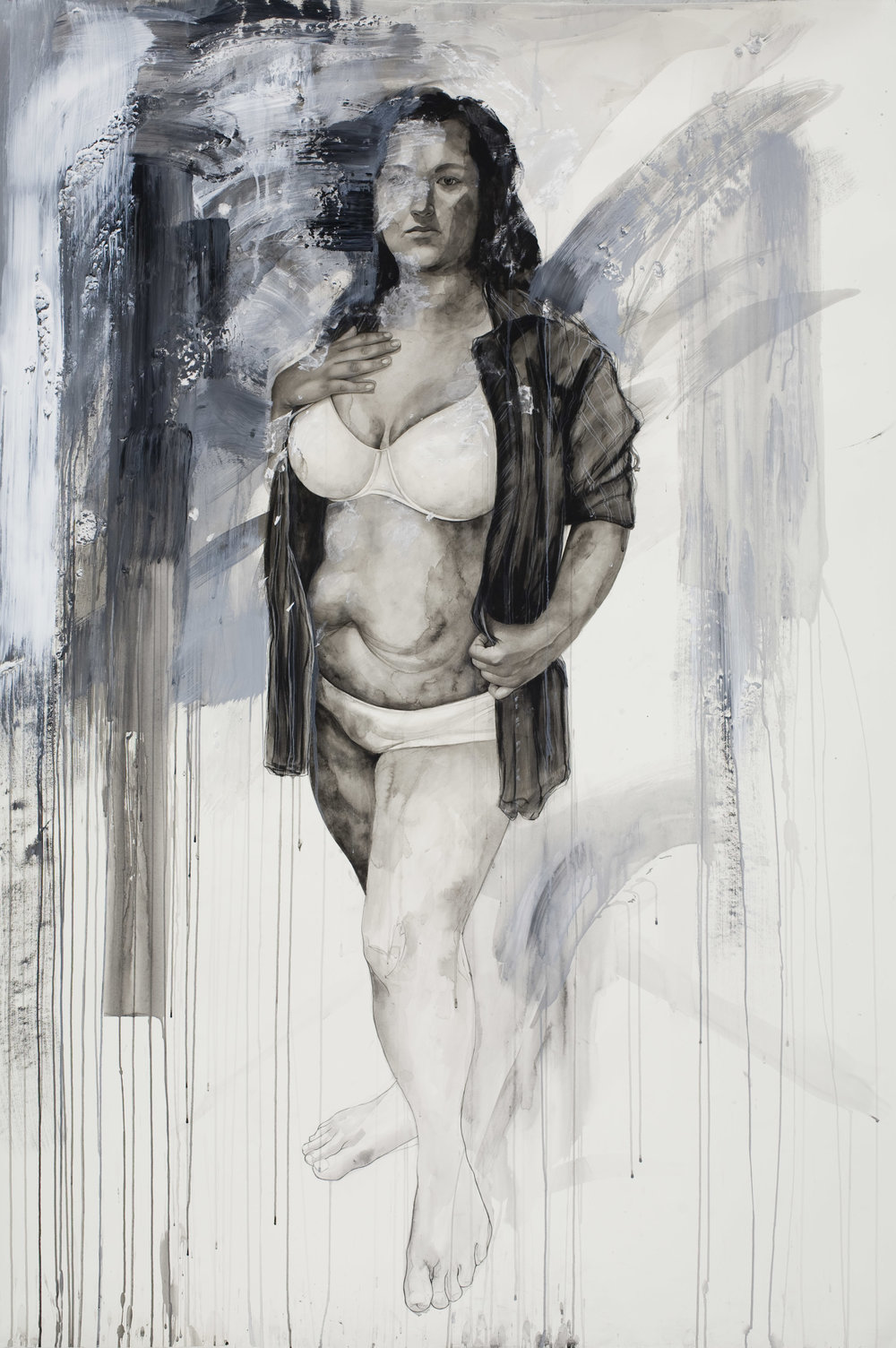 "Elizabeth, watercolor and mixed media on paper, 75"" x 54"", 2011"