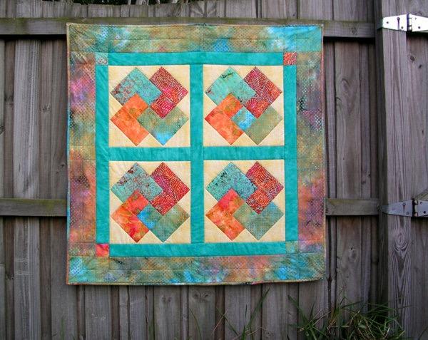 Batik cotton quilt. 36x36in.