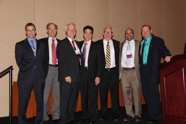 2014-2015 IAO Officers. From left to right: Dr. Brian Billard (Treasurer), Dr. Jim Fletcher (2nd Vice-President), Dr. Jim Poyak (First Vice-President), Dr. Kenneth Lee (President-Elect), Dr. Michael Agnini (Secretary), Dr. Kevin L. Williams (President), Dr. Rick Grant (Immediate Past President)