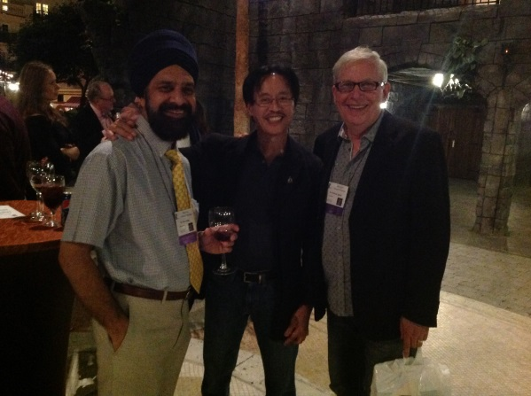 Pictured left to right: Dr. G. Dave Singh, Dr. Yosh Jefferson, IBO Treasurer and Dr. Michael Agnini, IAO Secretary enjoying the IAO Instructor's Reception.