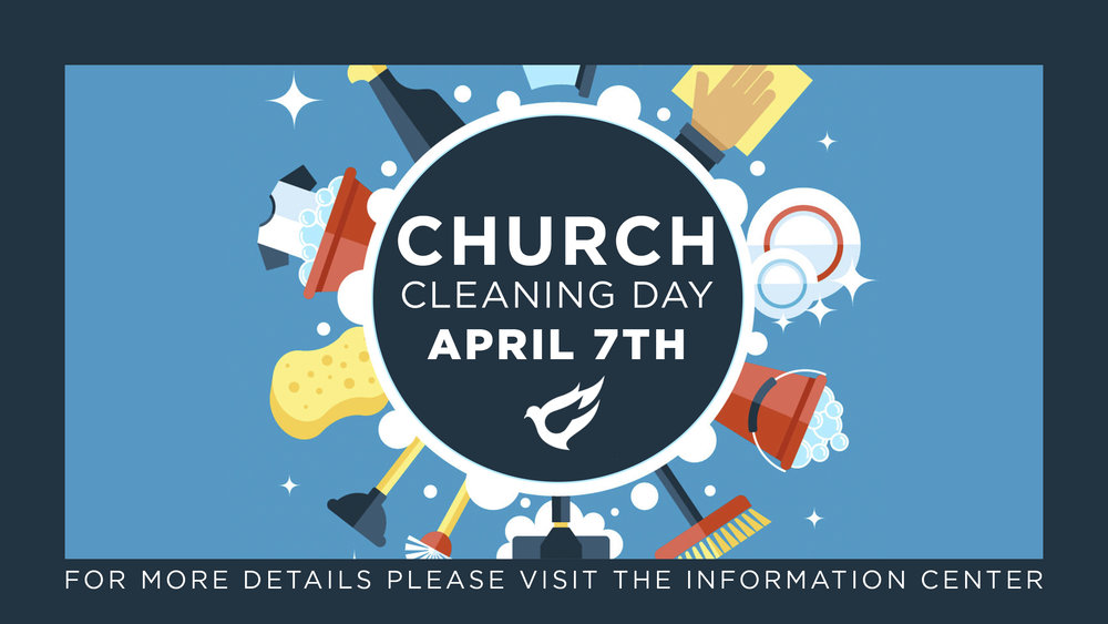 Plan to stay after church Sunday, April 7 as we join together to prepare our church for Easter.  Lunch will be provided for all that participate in the cleaning day.  Thank you in advance for your faithfulness and help in the ministry!