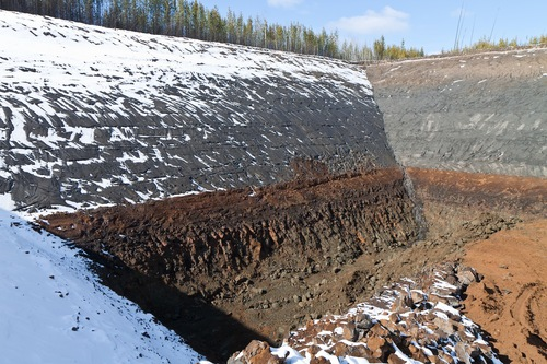 Bulk sample pit at Rambling Creek in the Clear Hills