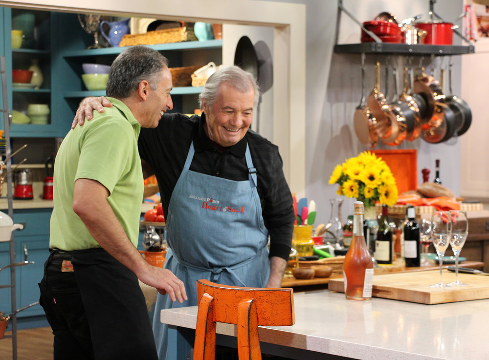 On the set of   Heart & Soul   celebrating my 100th show with Chef Jacques Pépin. Photo courtesy Wendy Goodfriend/KQED.