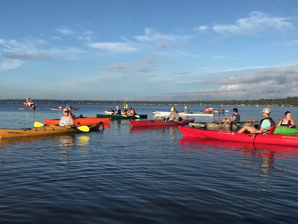35 paddlers including several stand-up paddleboarders made the 15-mile round trip around Lake Waccamaw.