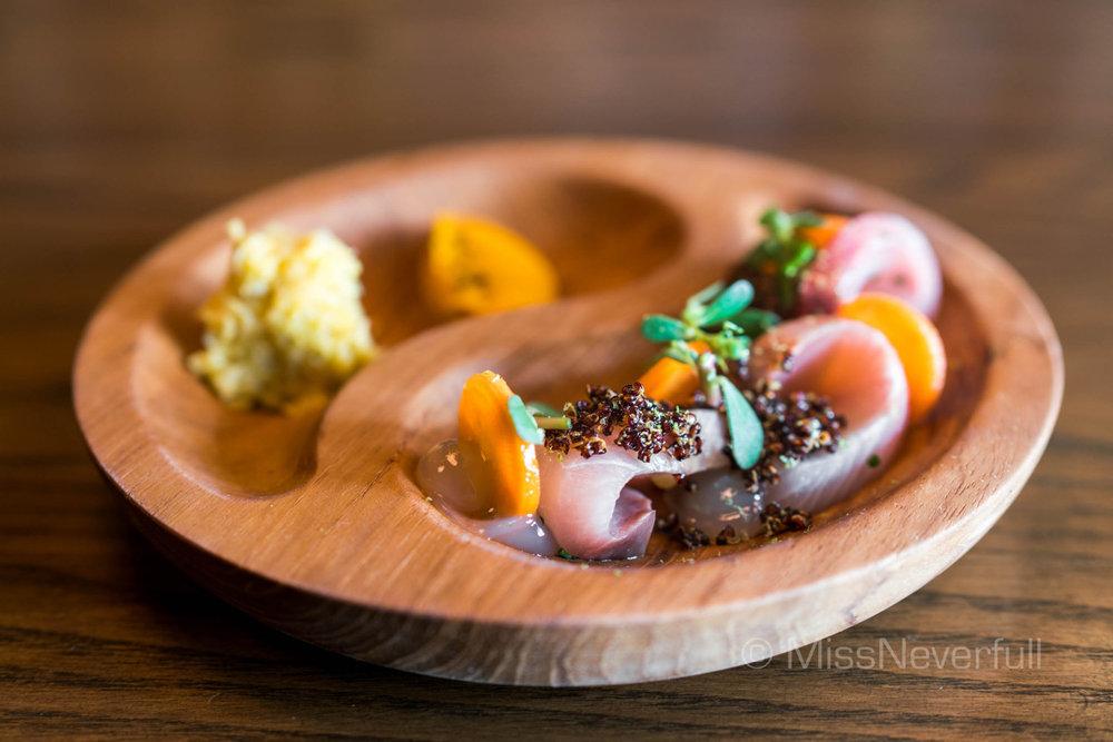 Hamachi Ceviche, Carrot Tartar, Ginger Vinegar & Puffed Quinoa