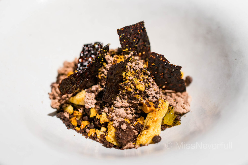 Chocolate Sorbet, Burnt Orange, Orange Curd & Honeycomb