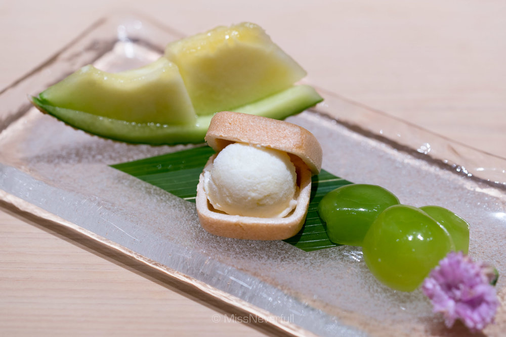 Desserts: Japanese sweet melon, monaka with ice cream, Japanese grapes
