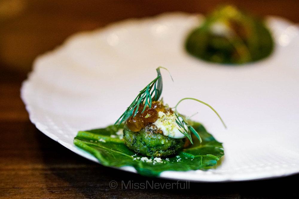 Pistachio falafel, smoked trout roe