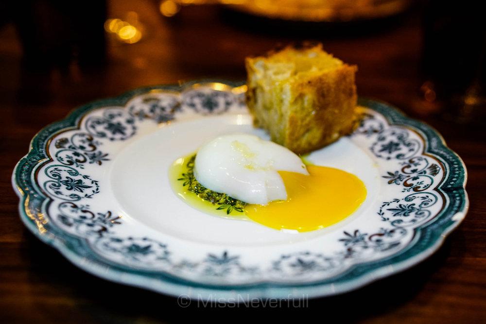 Mortadella, pistachio gribiche, homemade focaccia