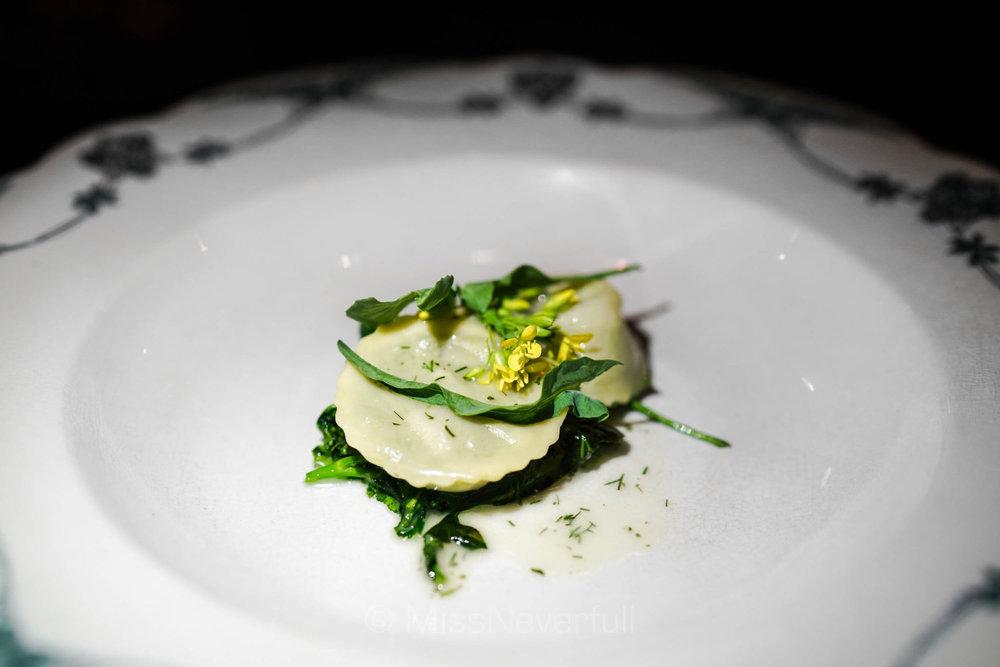 Pistachio ravioli, lemon, dill, broccoli dicicco