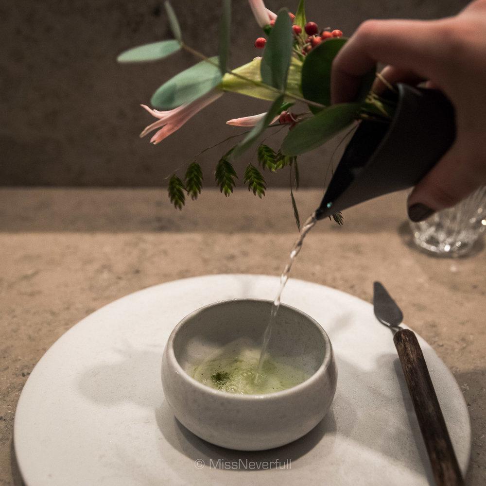 Flower water, gooseberries and pine granite