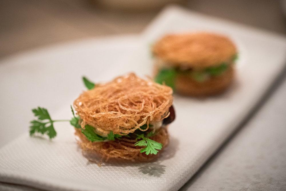 Crispy potato chip sandwich, smoked cod roe, salt and vinegar