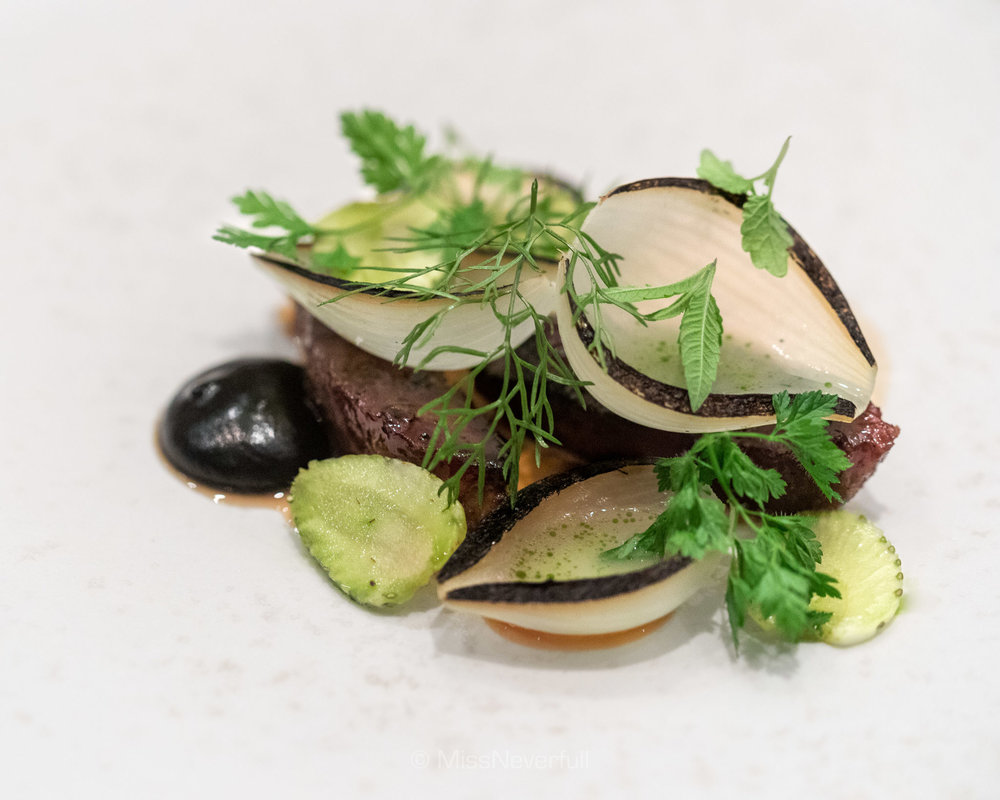 5. Grilled pork cheek, green strawberries, silver onion and thyme