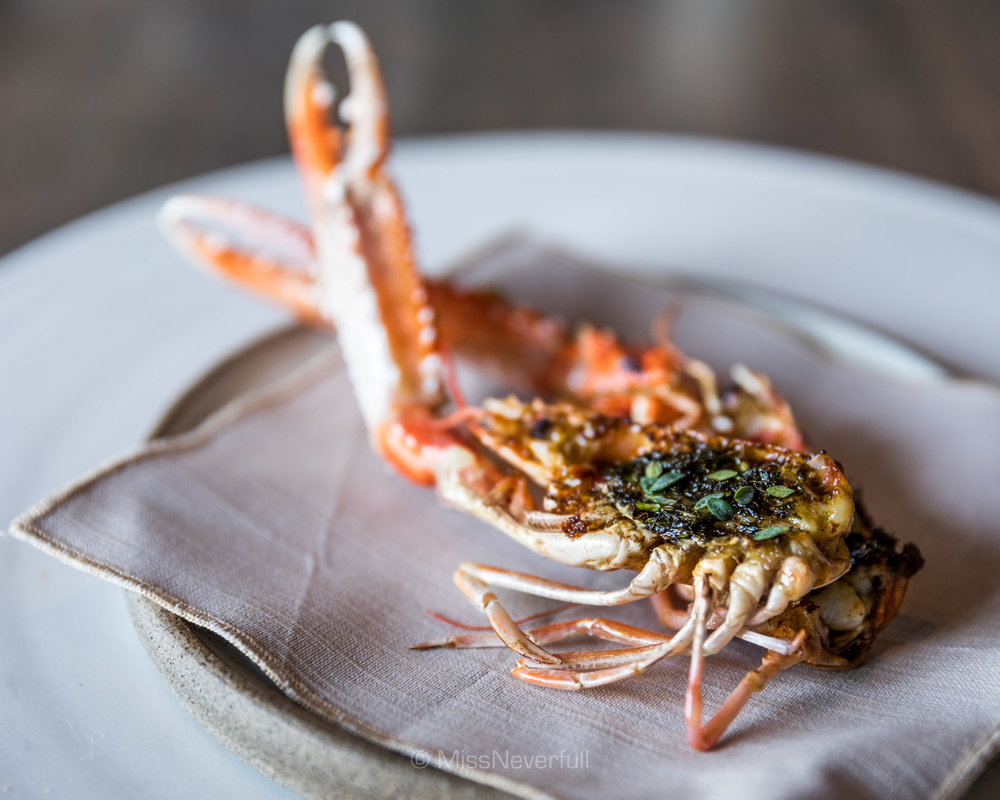 Grilled langoustine head
