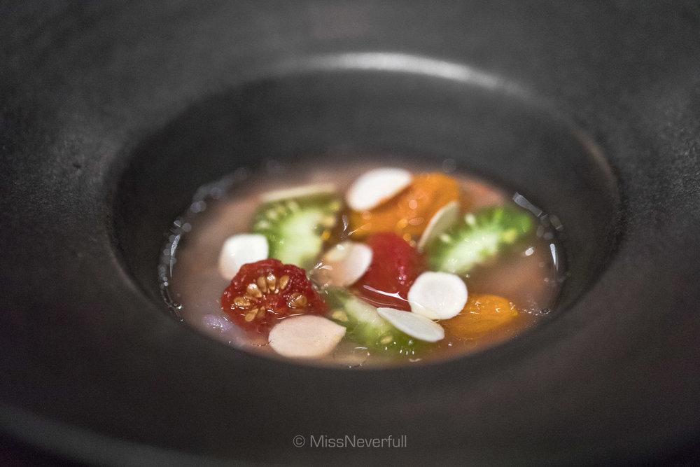 7. Tomato, langoustine, hazelnuts, and kelp