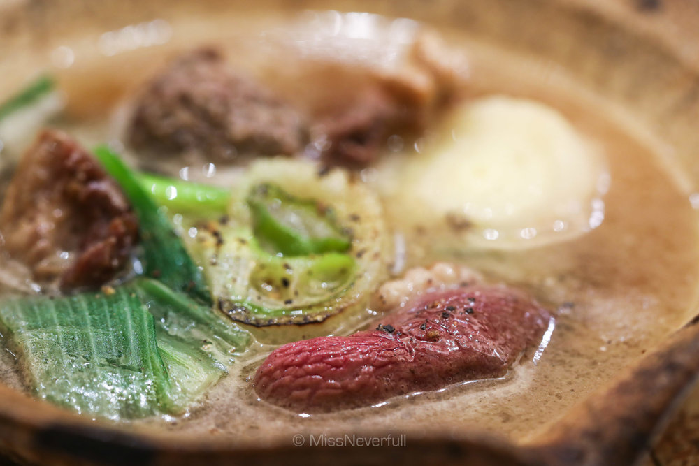 8. Japanese Kokusan duck hot pot, duck drum meat ball, Shimonita leek (青首鴨と下仁田葱の煮込み )