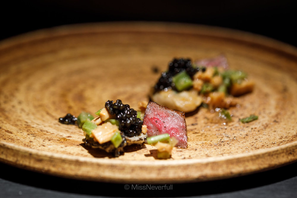6. Sirloin, Oyster, Caviar and homemade 'Menma' pickles (サーロインと牡蠣 自家製メンマと山蕨)