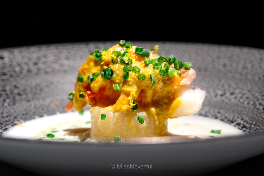 7. Ise-ebi (lobster), Kabu (turnip), white miso sauce (伊勢海老とカブ 白味噌)