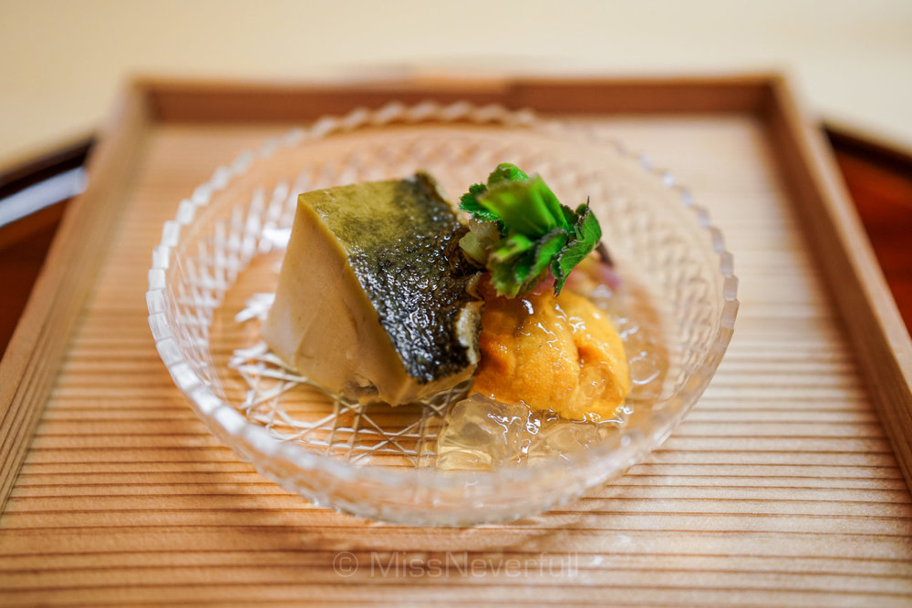 2. 白アワビとウニ 防風添え | White abalone, Uni (sea urchin) and Japanese parsnip