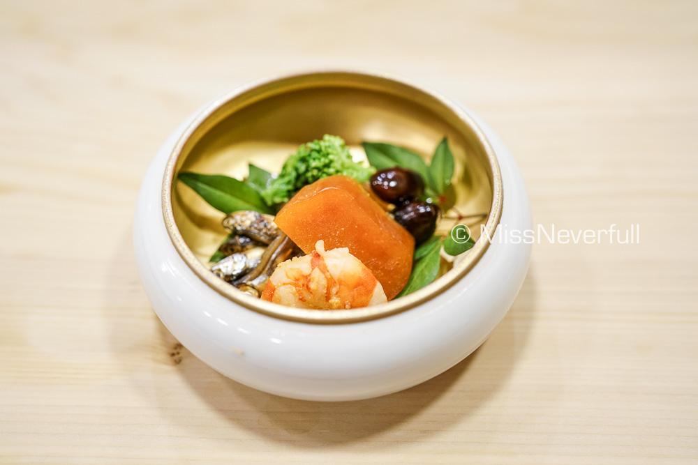 前菜: カラスミ 海老 黑豆 菜の花 | Karasumi, prawn, silver fish, broccoli, sweet black bean