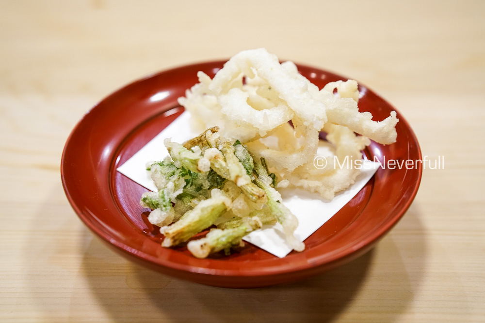 白魚の天ぷら | White fish tempura and Seri