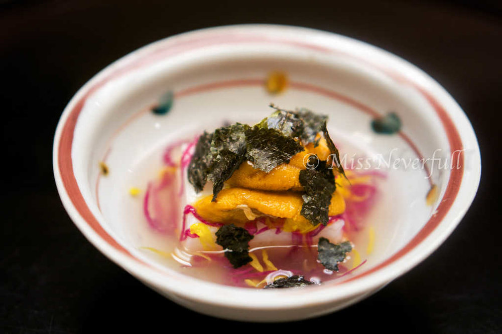 1. Potato tofu, sea urchin and seaweed