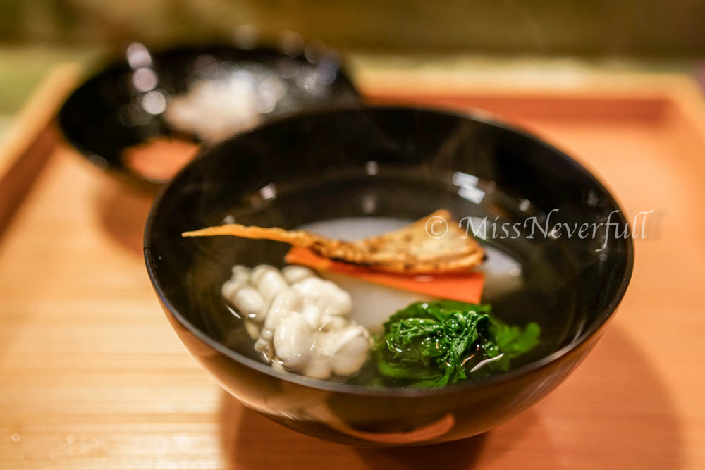 4. 'Owan' Soup of shirako, daikon, grilled bachiko and spinach