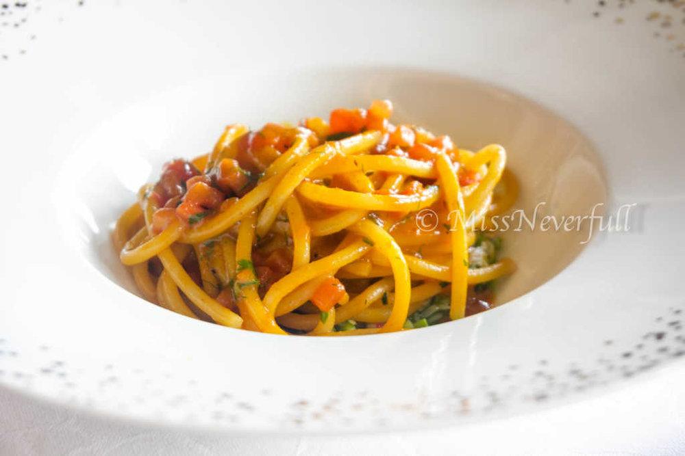 Artisanal Spaghetti Gentile, North Sea Crab, and Zucchini Ragout, Parsley Emulsion 手工细面配北海道蟹肉 (CNY 238)