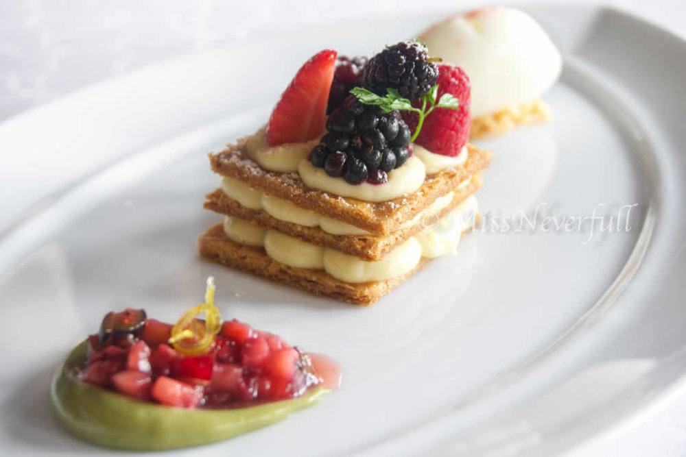 Classic Mille Feuille: Chantilly cream, seasonal berries, basil sorbet 经典拿破仑 (CNY 188)