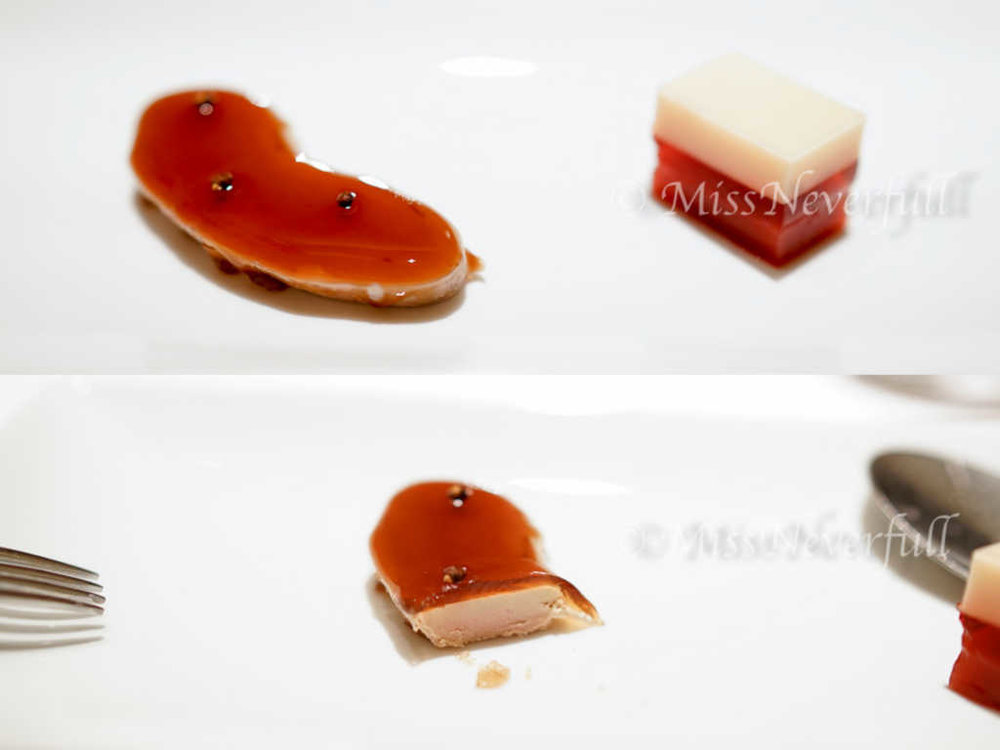Foie gras, pepper, lychee and tomato jelly