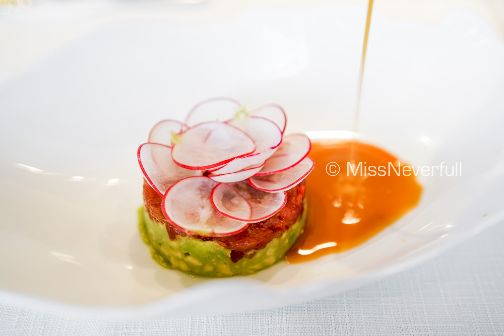 BLUE FIN TUNA TARTARE, Avocado and Radish, Ginger Dressing