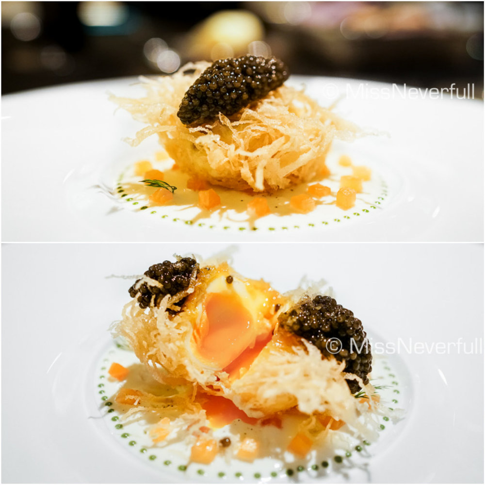 Deep Fried Egg ,caviar, cream, smoked salmon (+3000 JPY)