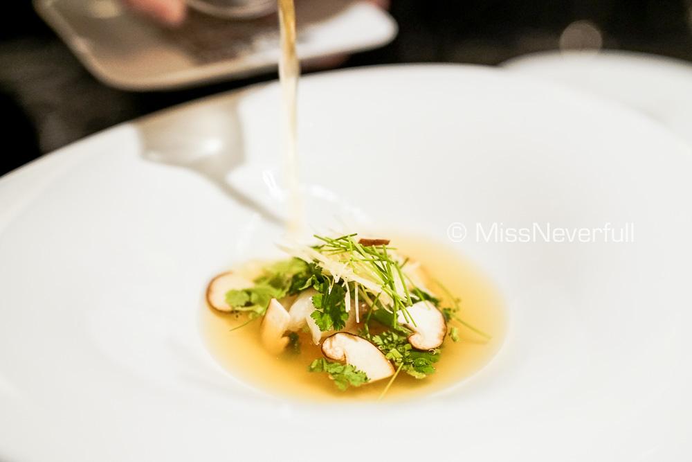 Botan shrimp, mushroom