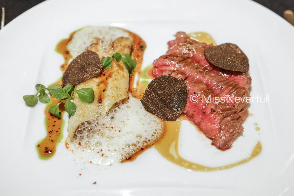 Grilled Beef served with a truffle, celeriac and duck liver macaroni gratin (+3000 JPY)