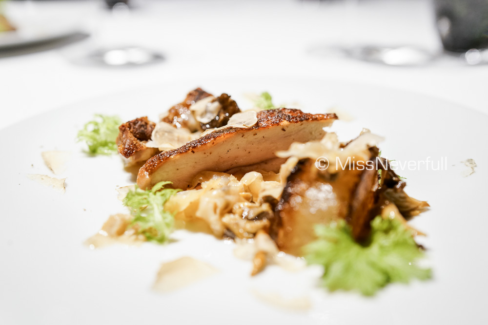 Winter delight ~ Char-grilled Guinea fowl, sauteed Daikon & jus, gapper clam (white truffle + JPY 5000)