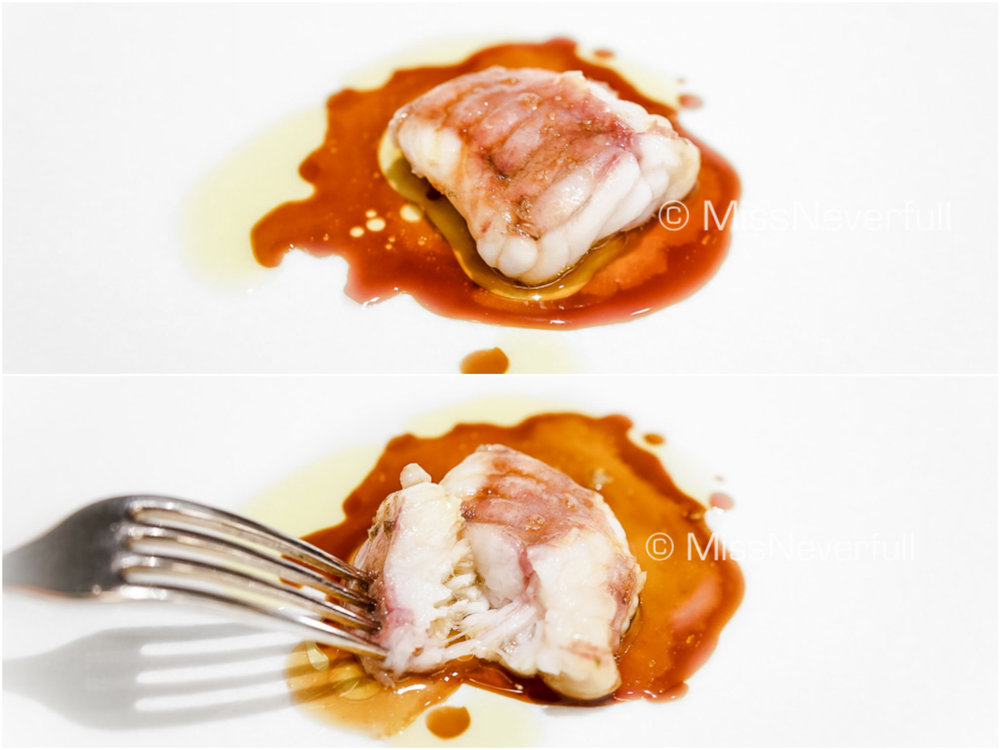 Monkfish, gravy sauce and olive oil
