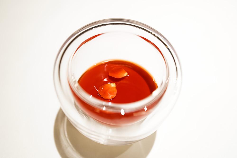 Blanc Mange, rosemary, strawberry sauce and rose
