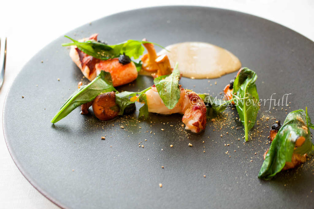 French lobster, paired with spinach, mushroom, celery podwer and black garlic puree