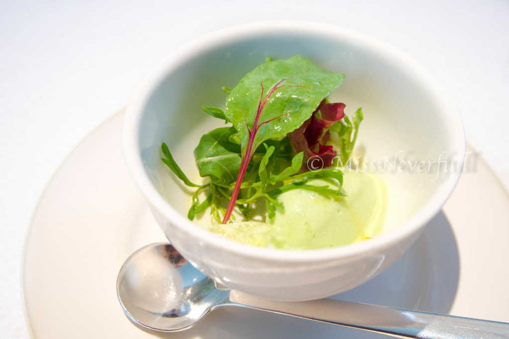 Amuse bouche 2: green pea ice-cream, salad and cabbage puree. The green pea flavor was strong and very refreshing.