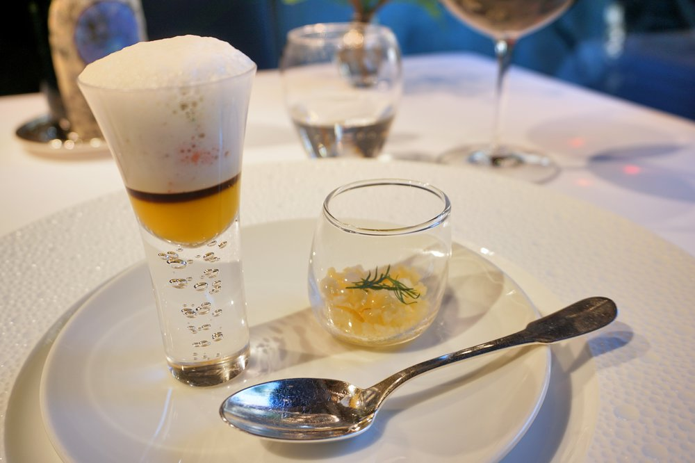 Amuse Bouche: Kobako crab, carrot, orange